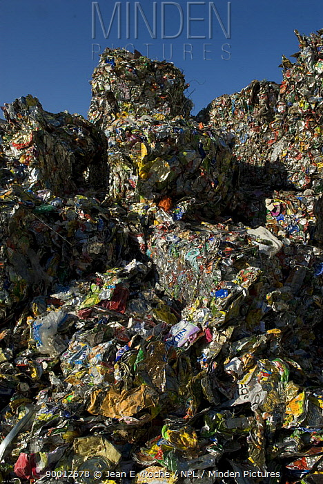 Mountain of paper rubbish baled up for recycling, Arles, Provence, France  -  Jean E. Roche/ npl