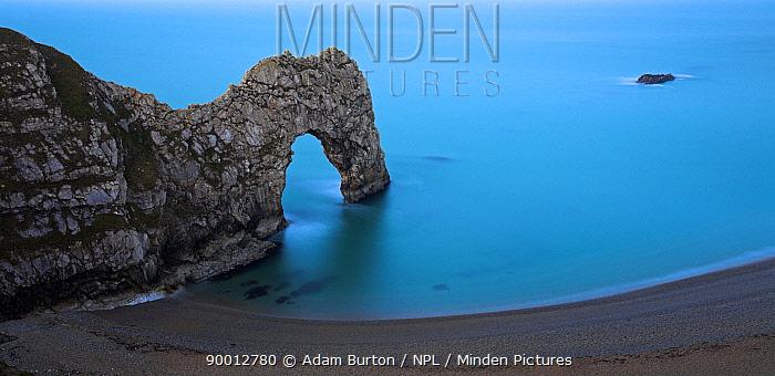 Durdle Door from cliff top Jurassic Coast World Heritage Site, Dorset, England  -  Adam Burton/ npl