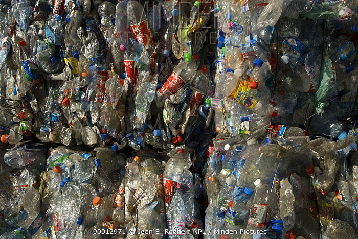 Plastic bottles baled up for recycling, Arles, Provence, France  -  Jean E. Roche/ npl