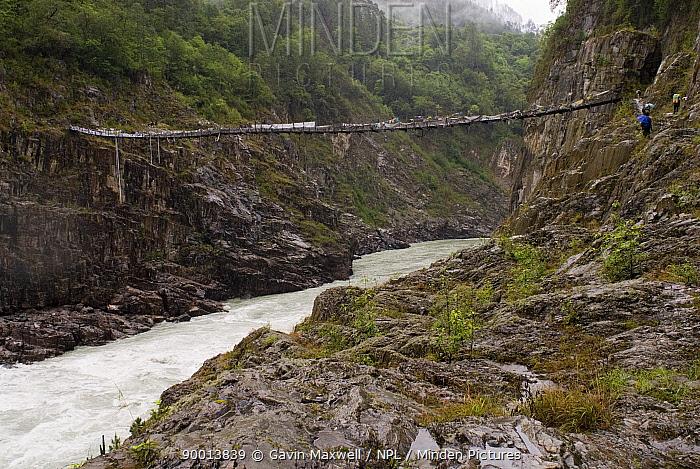 Rope bridge across Yarlung gorge, Tibet, May 07 'Wild China' series  -  Gavin Maxwell/ npl
