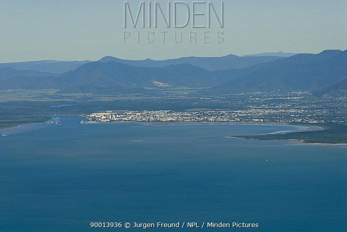 Aerial view of Cairns from the Pacific Ocean, Queensland, Australia  -  Jurgen Freund/ npl