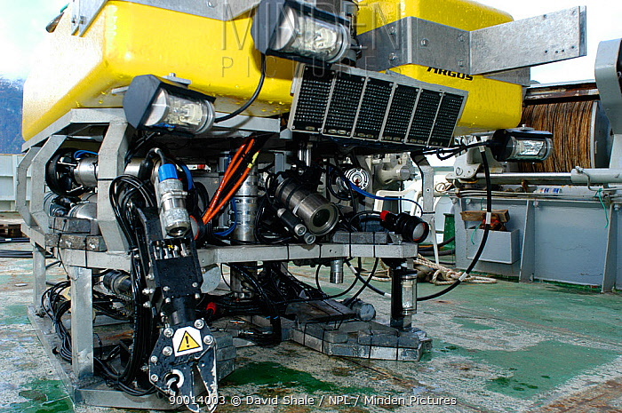 ROV (remotely operated vehicle) aboard RV Hakkon Mosby showing camera and lighting system, Atlantic ocean  -  David Shale/ npl