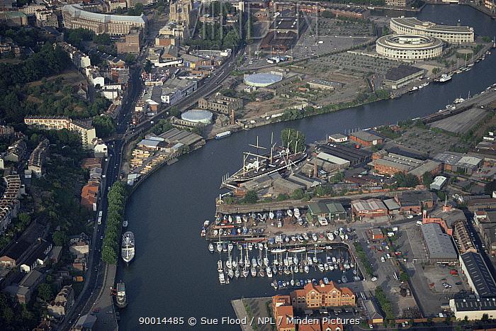 Aerial view of Bristol docks with SS Great Britain Bristol, UK 2002  -  Sue Flood/ npl