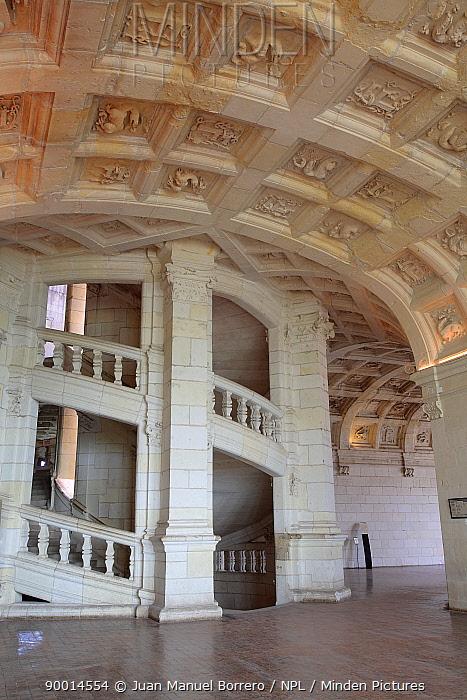Staircase in the Castle of Chambord, Loire Valley, France  -  Juan Manuel Borrero/ npl