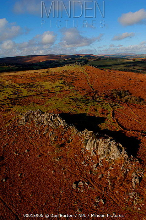 Aerial view of Great Tor Rock with views of Hound Tor in the background Dartmoor National Park, Devon, UK  -  Dan Burton/ npl