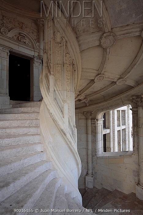 White stone spiral staircase in the Castle of Blois, Loire Valley, France  -  Juan Manuel Borrero/ npl