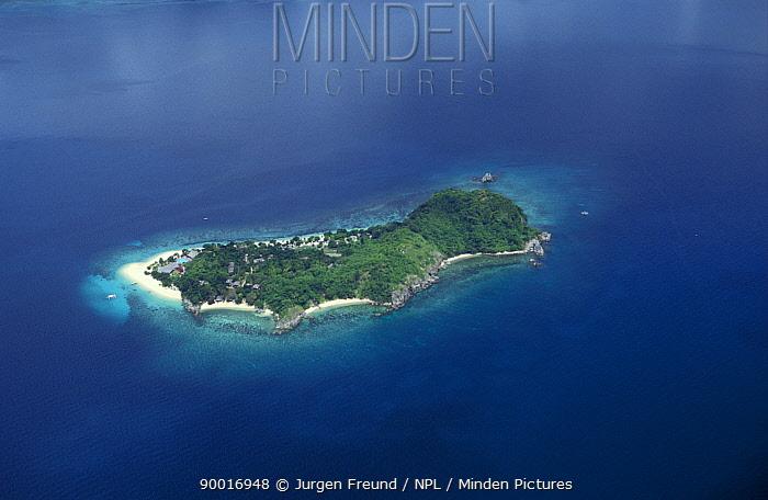 Aerial view of Dimakya Island and Club Paradise resort, Palawan, Philippines  -  Jurgen Freund/ npl