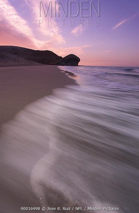 Soft-shot of beach at sunrise, Playa del Monsul, Cabo de Gata, Almeria, Spain  -  Jose B. Ruiz/ npl