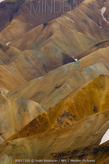 Eroded slopes of Landmannalaugar highlands, central Iceland  -  Inaki Relanzon/ npl