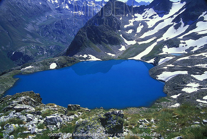 Beautiful Blue Murudzhinskoe Lake, Teberdinskiy Zapovednik, Reserve, West Caucasus mountains, Karachayeco Cherkessiya, Russia  -  Konstantin Mikhailov/ npl