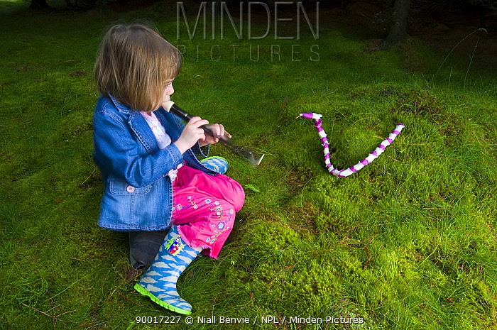 Foxglove (Digitalis sp) flowers woven by girlYoung girl 'charming' a snake made of Foxglove flowers, Scotland United Kingdom  -  Niall Benvie/ npl