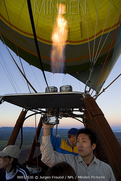 Raging Thunder hot air balloon with burner, Mareeba, Atherton Tablelands, Queensland, Australia  -  Jurgen Freund/ npl