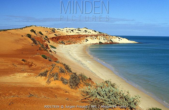 Rust red sand dunes of the Cape Peron coast, Shark Bay World Heritage Area, Francois Peron NP, Shark Bay, Western Australia  -  Jurgen Freund/ npl