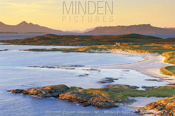 Rum, Eigg and Muck islands from Ardnamurchan, Inner Hebrides, Scotland, UK  -  Geoff Simpson/ npl