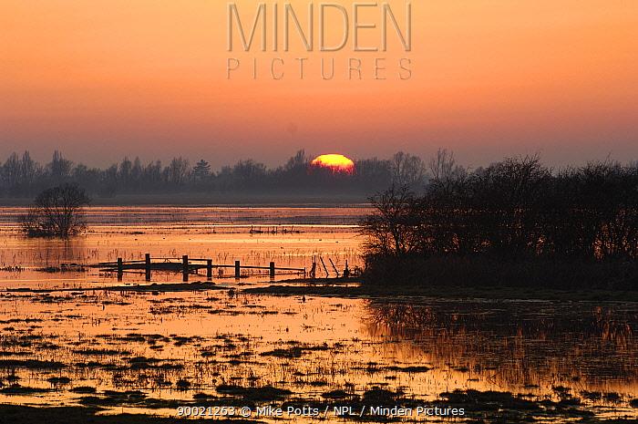 Winter Sunset over Ouse Washes, Cambridgeshire, UK February 2008  -  Mike Potts/ npl
