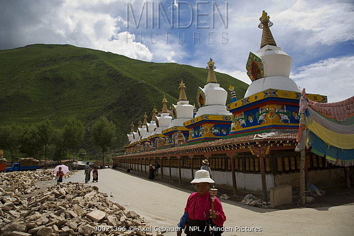 Gyanag Mani wall, with millions of Tibetan mani stones, is the largest in the world Yushu, Qinghai Province, Tibet, China  -  Dr. Axel Gebauer/ npl