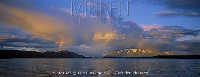 Rainbow over Naknek lake, Katmai National Park, Alaska, USA  -  Eric Baccega/ npl