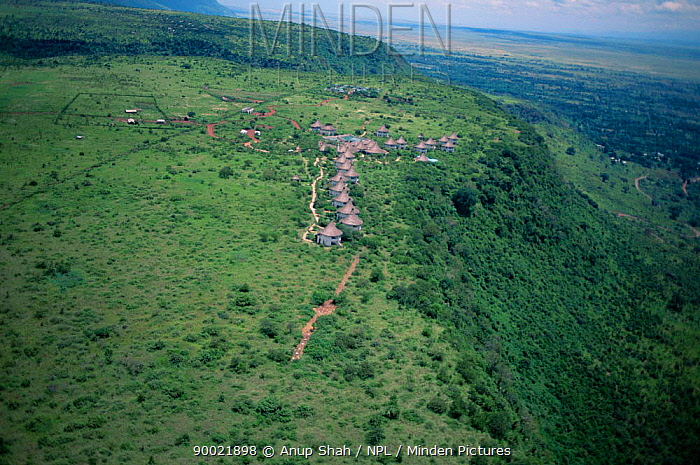 Aerial view of Serena Manyara Lodge, Manyara Escarpment, Tanzania Rift Valley  -  Anup Shah/ npl