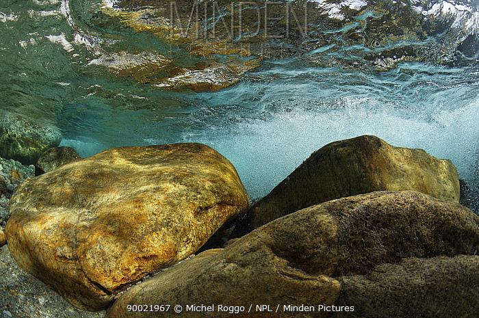 Turbulent waters in Verzasca River, Tessin, Switzerland, October  -  Michel Roggo/ npl