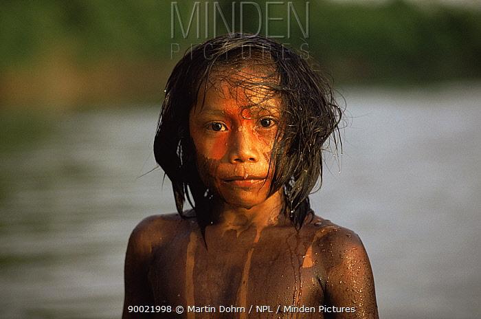 Portrait of Kayapo indian boy with body painted using plant dye, Amazon Basin, Brazil  -  Martin Dohrn/ npl