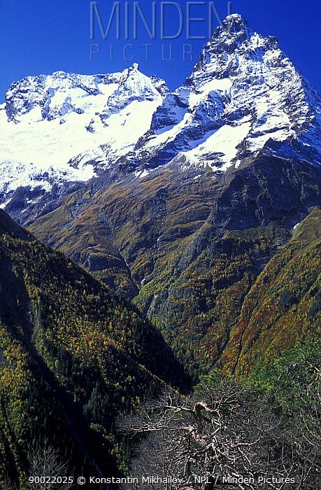 Belolakaya peak (3861m) in July, most expressive peak in Dombai wall Teberdinskiy Zapovednik Reserve, Caucasus mountains, Karacheyevo Cherkessiya, Russia  -  Konstantin Mikhailov/ npl