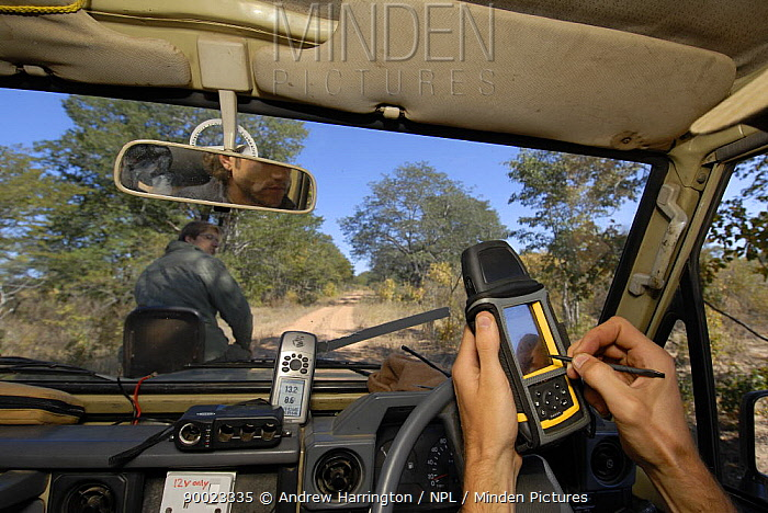 Carrying out a spoor transect, Hwange national park, Zimbabwe  -  Andrew Harrington/ npl