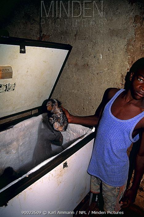 Chimpanzee (Pan troglodytes) meat for sale in shop, Central Africa  -  Karl Ammann/ npl