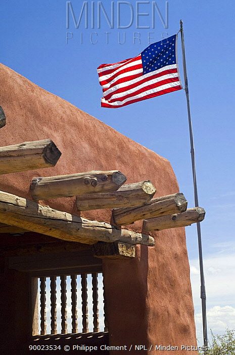 American flag at a museum in the Painted Desert and Petrified Forest NP, Arizona USA  -  Philippe Clement/ npl