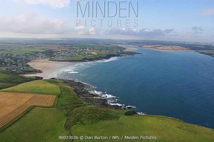 Aerial view of Polzeath and Hayle Bay, Cornwall, UK  -  Dan Burton/ npl