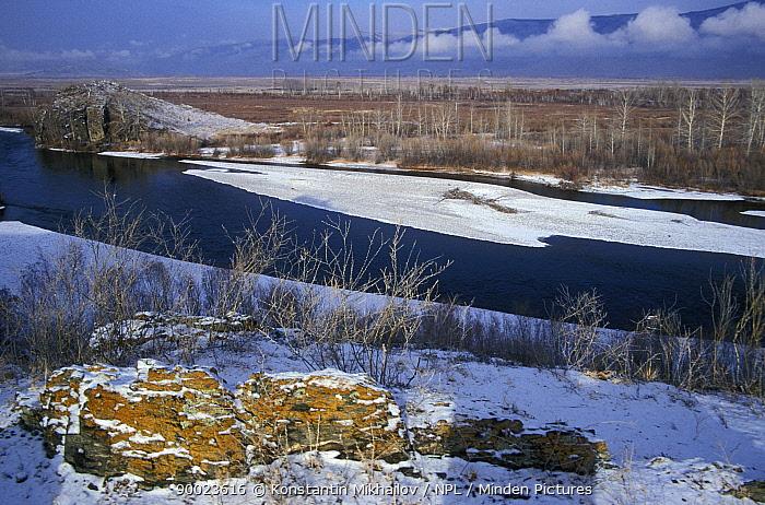 The steppe-desert valley of river Khemchik (Yenisei's tributary) Tuva, Siberia, Russia, November 2001  -  Konstantin Mikhailov/ npl