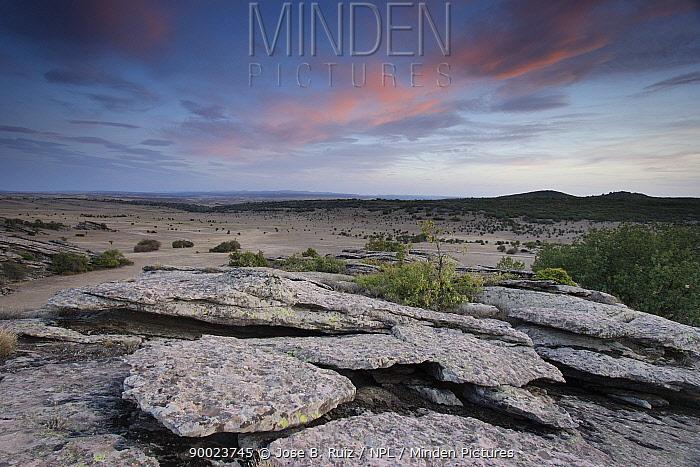 View over granite rocks onto the dryland landscape of Hombrados Guadalajara, Spain  -  Jose B. Ruiz/ npl