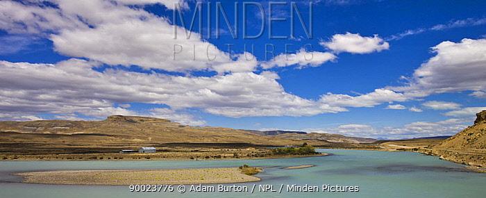 Glacial Leona River flowing through barren Steppe landscape Patagonia, Argentina December 2007  -  Adam Burton/ npl