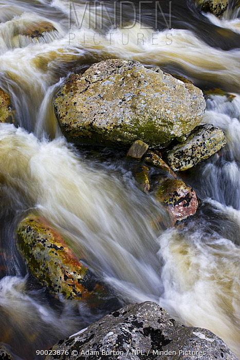 Fast flowing water over rocks at Tavy Cleave, Dartmoor NP, Devon, UK  -  Adam Burton/ npl