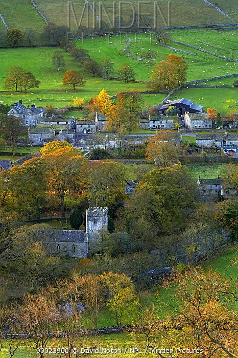 View over village of Arncliffe, Littondale, Yorkshire Dales National Park, England, UK, autumn  -  David Noton/ npl