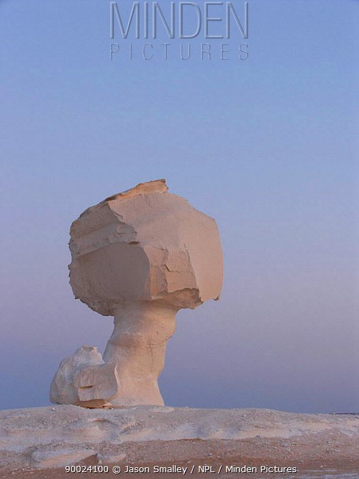 The White Desert, near Bahariya, Egypt, with unusual rock formations caused by wind eroding the calcium rich rock  -  Jason Smalley/ npl