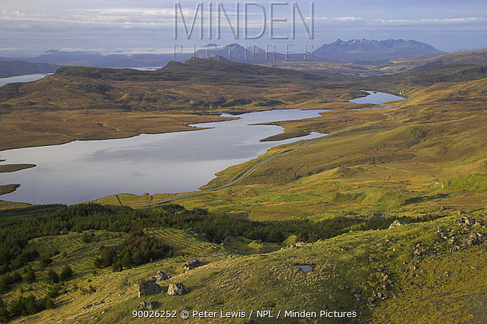 View from Old Man of Storr across Loch Leathan to Isle of Raasay in the distance, Isle of Skye, Inner Hebrides, Scotland  -  Peter Lewis/ npl