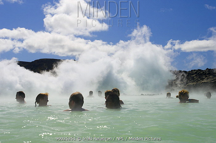 Bathers relaxing in The Blue Lagoon, Thermal area and swimming pools on the Reykjanes Peninsula, near Reykjavik, Iceland  -  Inaki Relanzon/ npl