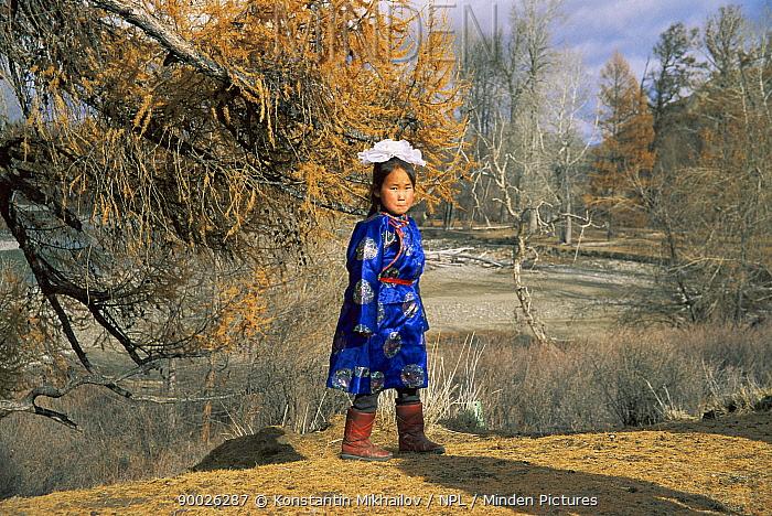 Girl wearing traditional costume, Tuva, Siberia, Russia  -  Konstantin Mikhailov/ npl