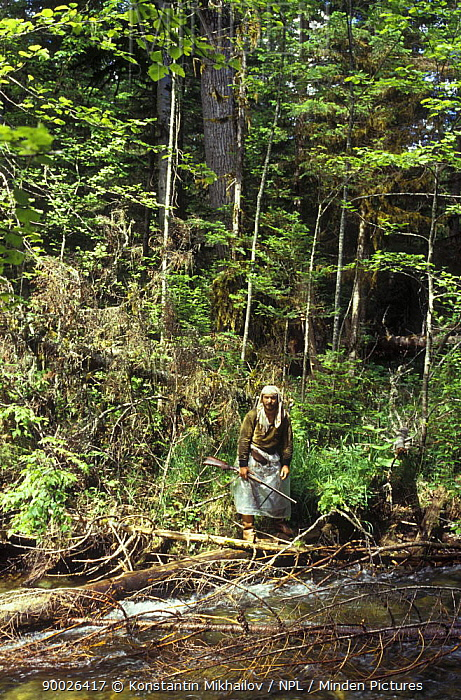 Local hunter in the taiga forest, Ussuriland, Primorsky, SE Siberia, far east Russia 1995  -  Konstantin Mikhailov/ npl