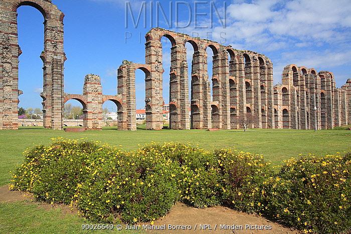 Roman aquaduct of Los Milagros in Merida, Badajoz, Spain  -  Juan Manuel Borrero/ npl