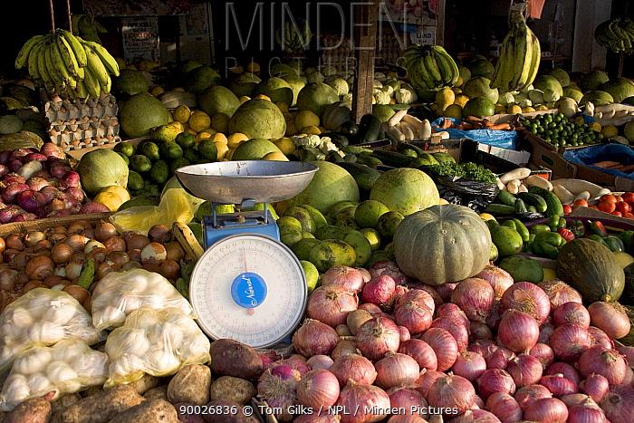 Fruit and vegetable stall, Bakau market, Gambia, 2007  -  Tom Gilks/ npl