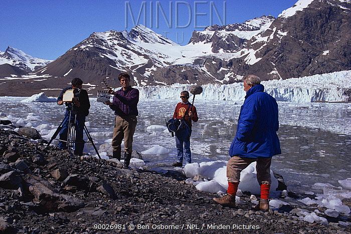 Sync crew filming Sir David Attenborough on South Georgia, 1992, for BBC tv series Life in the Freezer  -  Ben Osborne/ npl