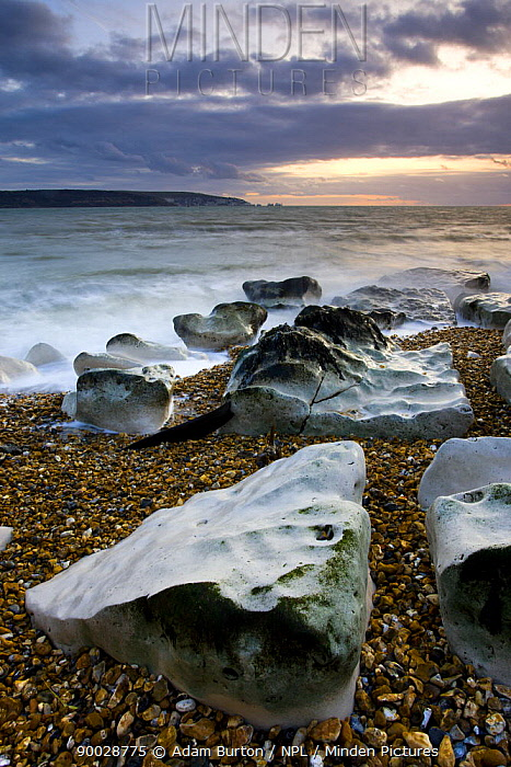 Sea defences at Hurst Spit, looking across to the Isle of Wight and the Needles, Hampshire, England  -  Adam Burton/ npl