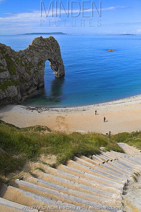 Steps leading down to Durdle Door beach, Dorset, England Jurassic Coast World Heritage Site  -  Adam Burton/ npl