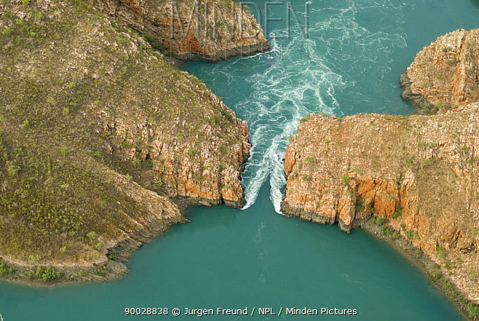 Aerial view of the horizontal waterfall, located within Talbot Bay in the Buccaneer Archipelago Derby, Western Australia  -  Jurgen Freund/ npl