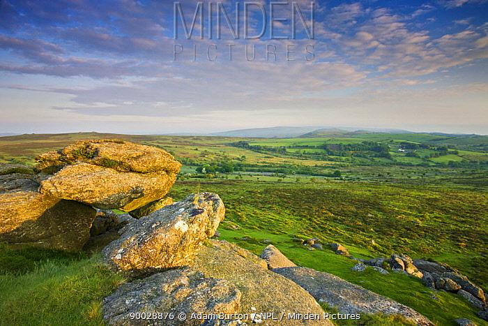 Moorland and fields of Dartmoor, viewed from Saddle Tor, Dartmoor National Park, Devon, England, 2008  -  Adam Burton/ npl