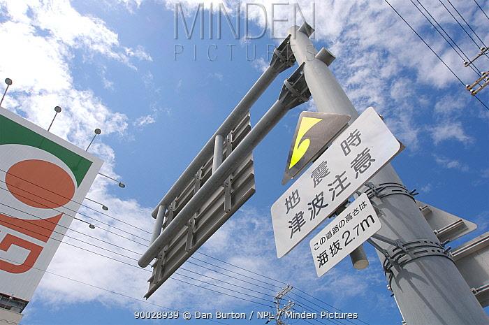 Tsunami warning in Kushimoto city, Japan Height on sign indicates height from sea level  -  Dan Burton/ npl