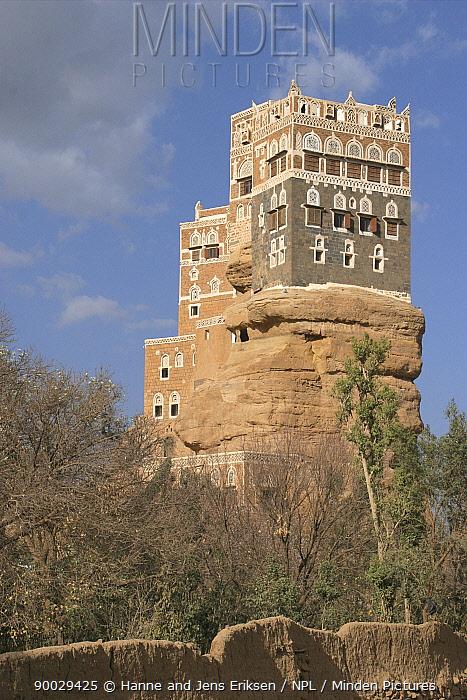 Rock Palace built on rock outcrop, Wadi Dhahr near Sana'a, Yemen  -  Hanne & Jens Eriksen/ npl