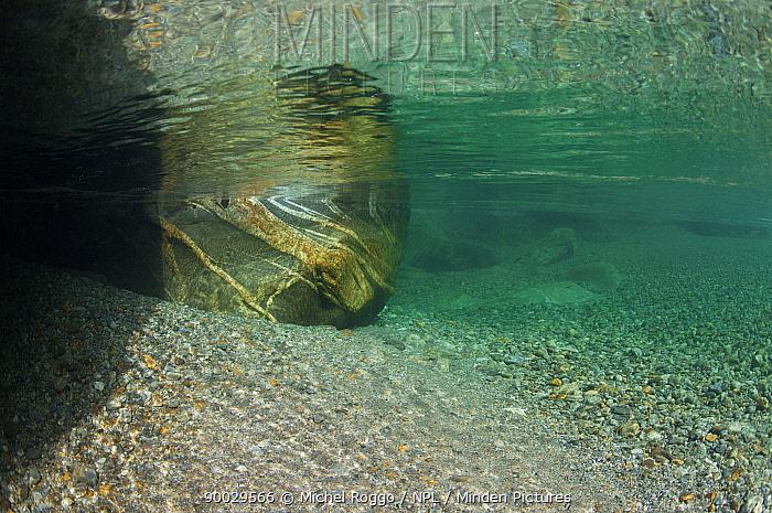 Underwater landscape in Verzasca River, Tessin, Switzerland, October  -  Michel Roggo/ npl