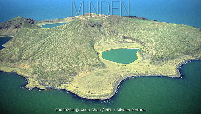Aerial view of a crater lake in Central Island in Lake Turkana, Northern Kenya  -  Anup Shah/ npl